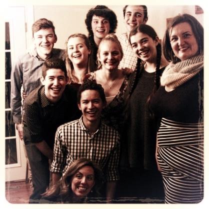 Current Members of Body Song Voice Studio (left to right, back to front): Ari Cummings, Emma Ellis, Jasper Fearon, Howard Kraskow, Imri Leshed, Addy Whitener, Rachel Frank, Sharon Costianes (founder and teacher), Christian Henry, Kristin Zaryski (accompanist)