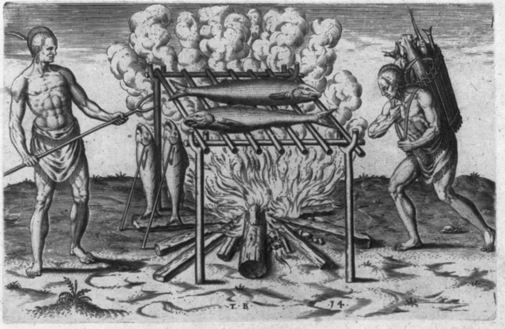 """Illustrasjon av en karibisk """"barbacoa"""" som viser de karibiske innfødtes grillteknikker med bruk av direkte og indirekte varme."""