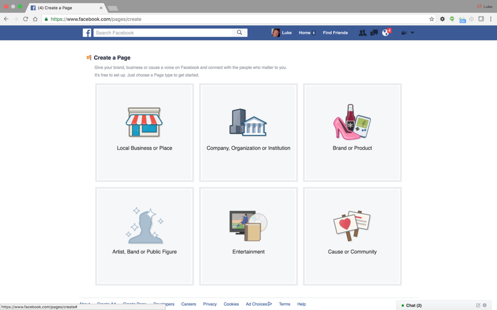 Facebook | Create Page