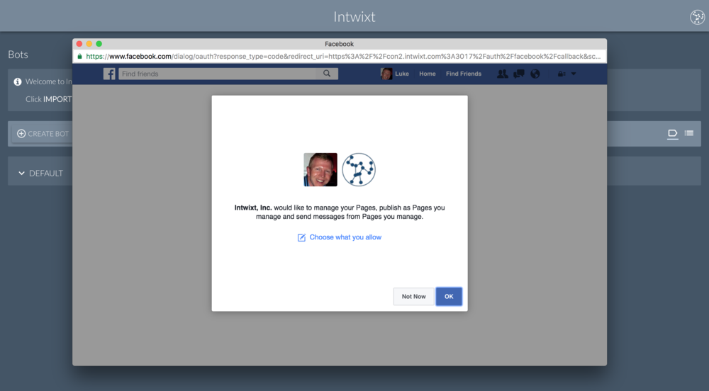 Facebook | Grant approval for Intwixt to Manage Pages