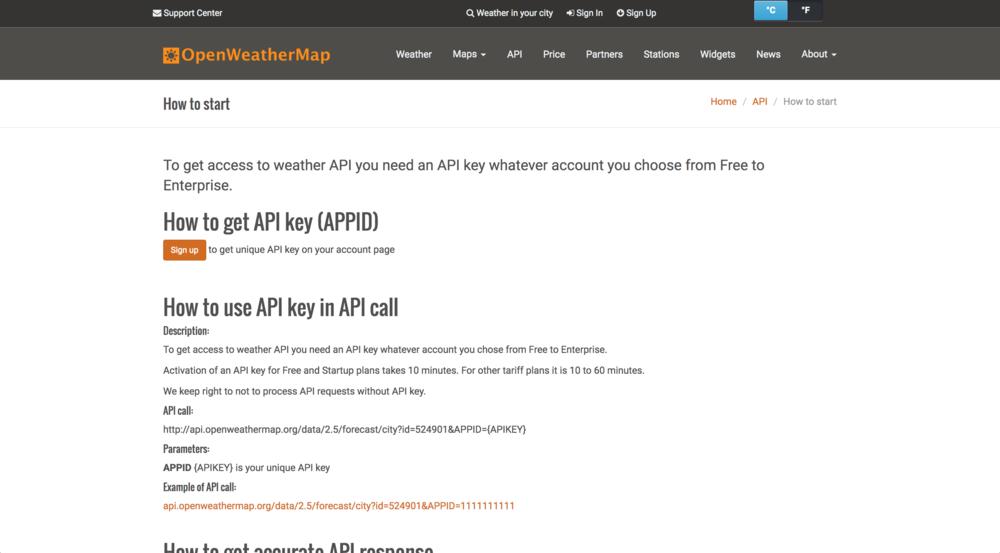 OpenWeatherMap | API Key