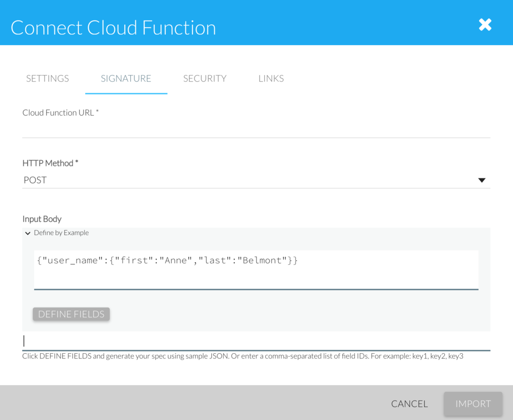 Cloud Function Connection Wizard (generates specs using sample JSON)