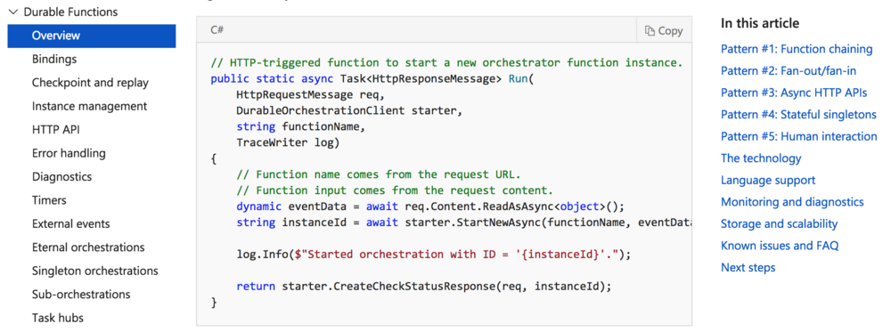 Preview of Microsoft Durable Functions (await...)