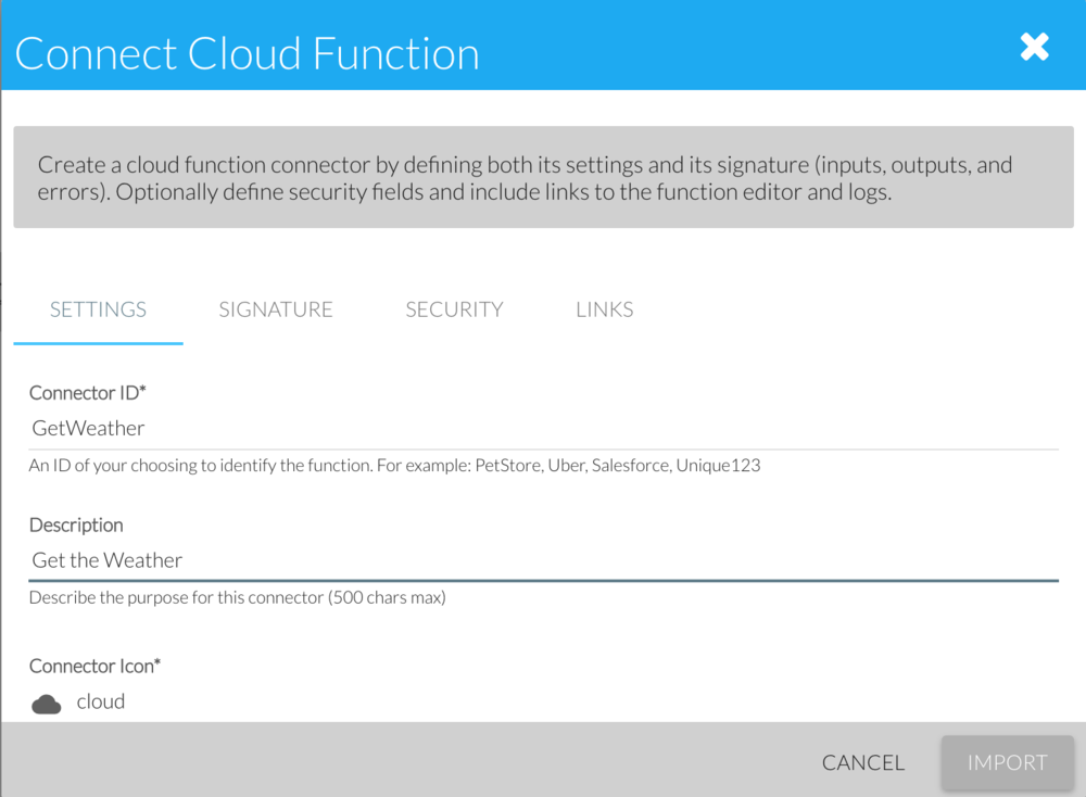 Connect Cloud Function wizard showing SETTINGS panel