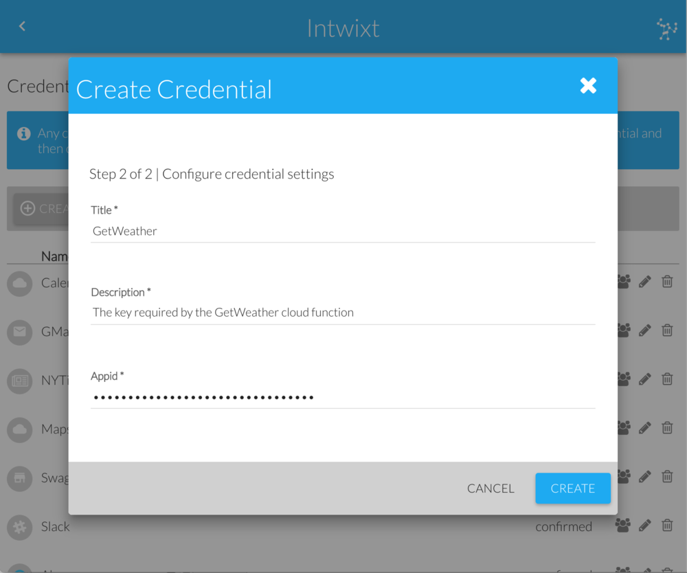 Create Credential Dialog | Configure Settings