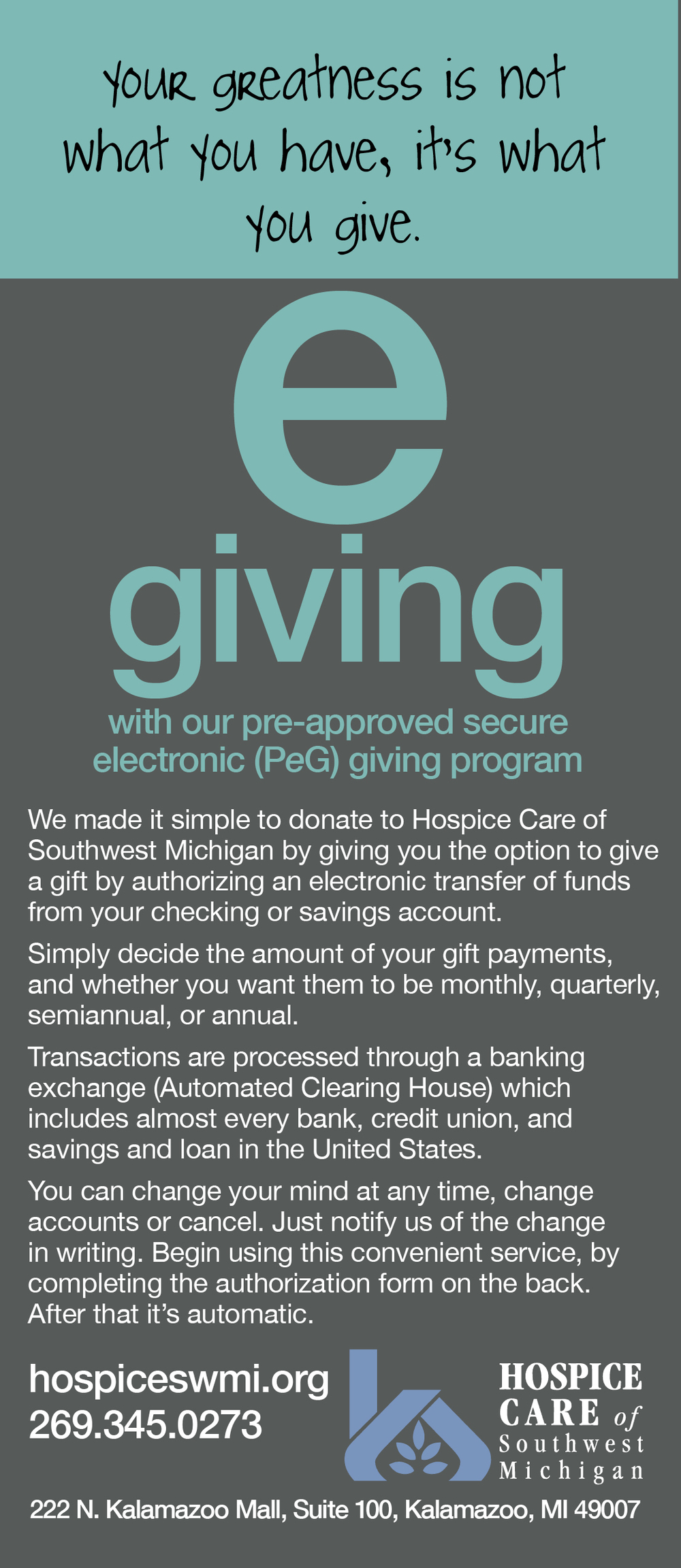 Hospice Care of Southwest Michigan E-Giving Donation Option Front Cover