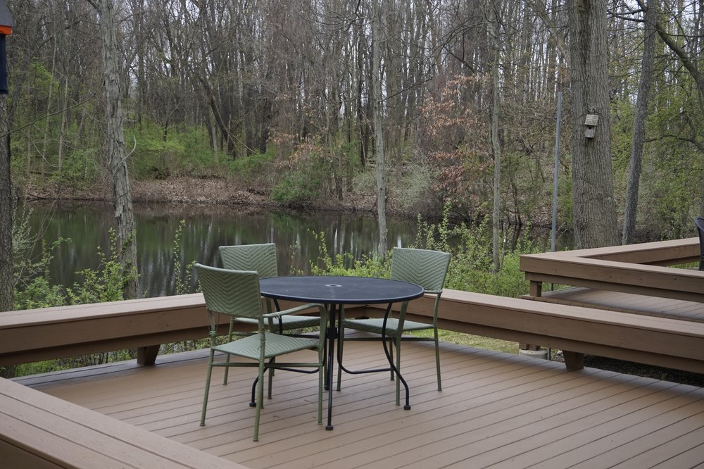 Each client room at Glenn Arbor has an attached deck overlooking the pond