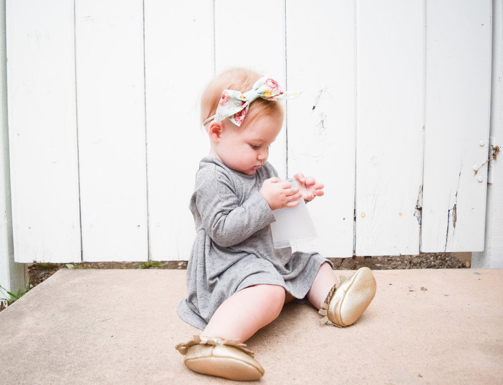 Baby Fashion - Grey Long Sleeved Kids Dress, Gold Moccasins, Seafoam Floral Print Baby Bow