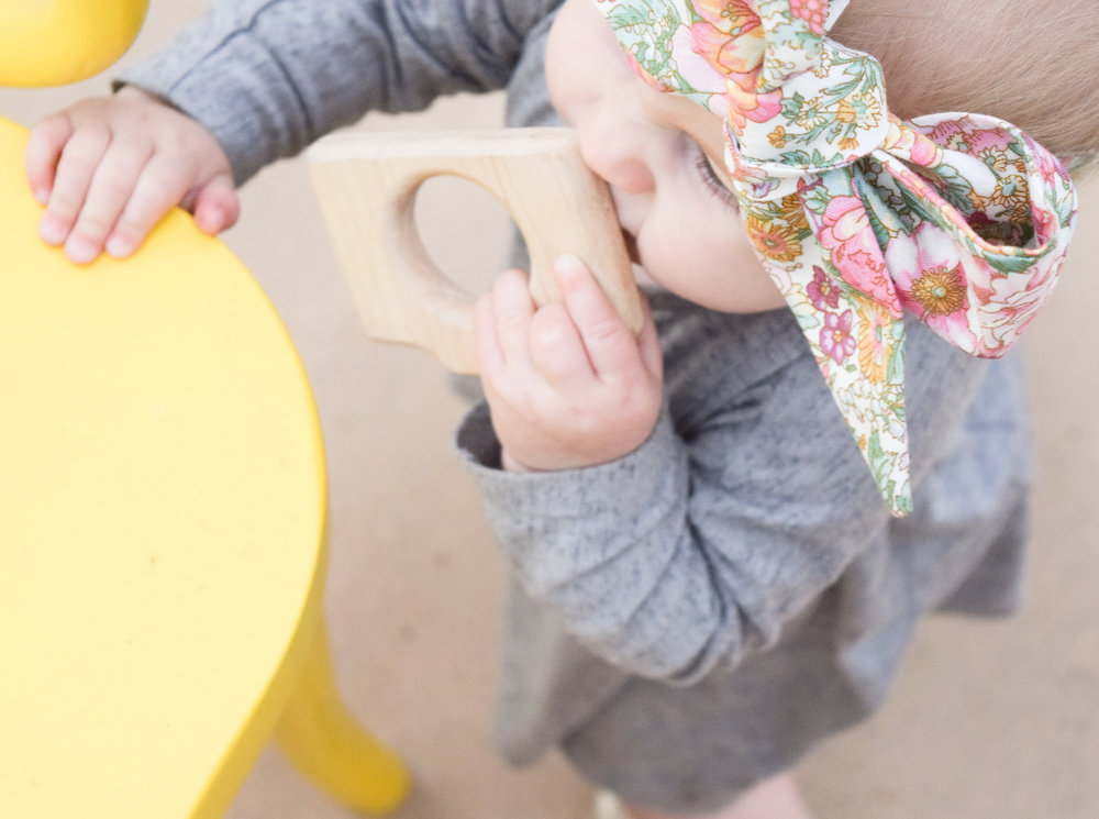 Baby Fashion - Grey Long Sleeved Kids Dress, Gold Moccasins, Floral Print Head Wrap