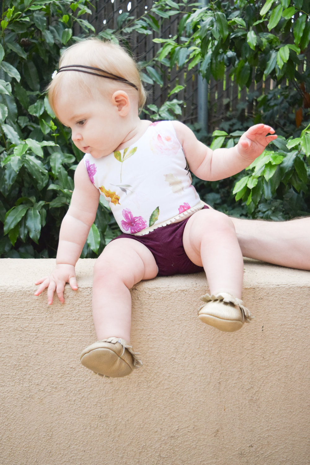 Boho Baby Clothes - Floral Baby Crop Top + Maroon Baby Bloomers