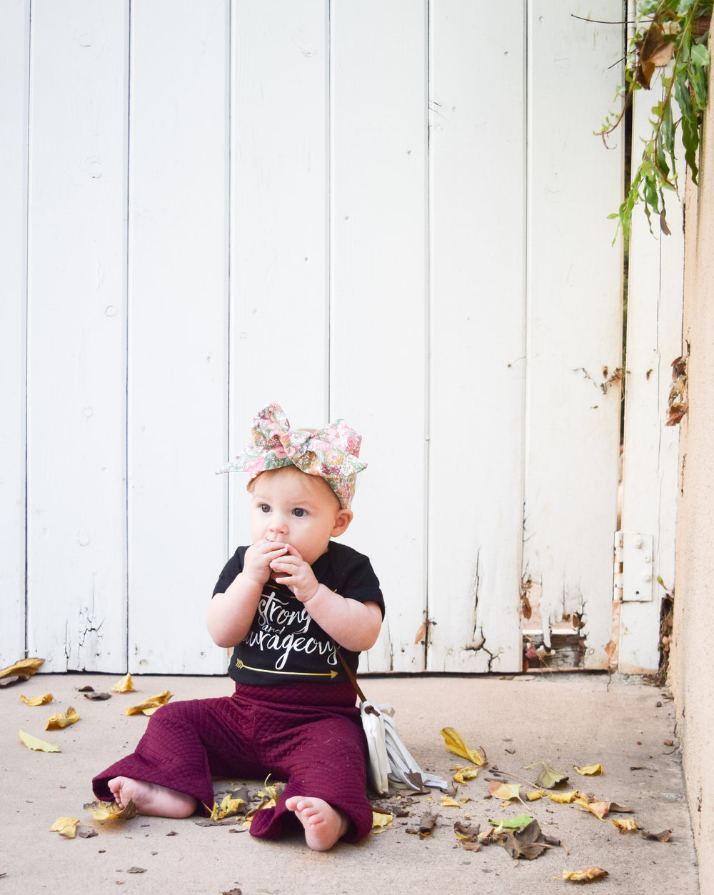 Maroon Baby Bell Bottoms, Black Printed Onesie, Boho Baby Purse