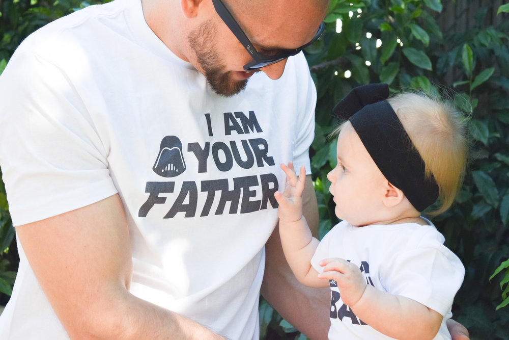 Star Wars Themed Baby Onesie + Daddy Shirt - Daddy/Baby Shirts