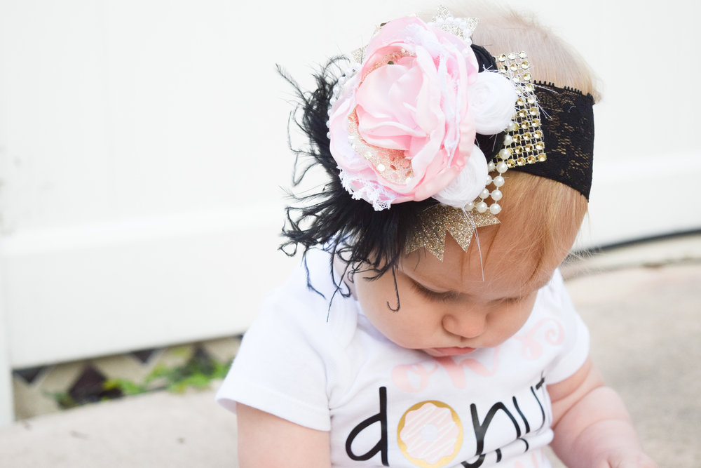 Oh Donut Even Onesie - Gold Sequin Bloomers - Light Pink Ruffle Bloomers - Posh Little Baby Boutique