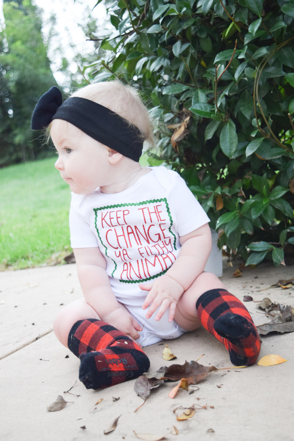 "KIDS FASHION | Baby Holiday Onesie -- ""Keep the change ya filthy animal"" - red plaid holiday socks"