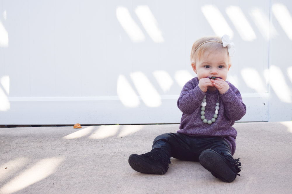 Purple Baby Sweater Dress, Black Baby Leggins, Baby Teething Necklace, Black Baby Fringe Boots
