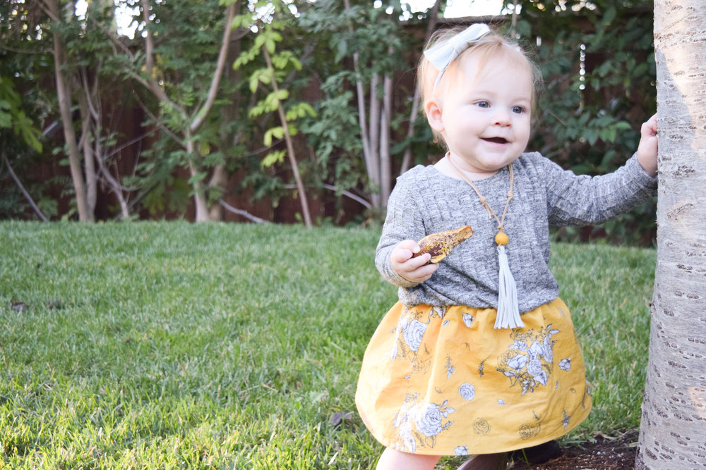 BABY FASHION | Mustard Vintage Floral + Heather Grey Baby Sweater Dress