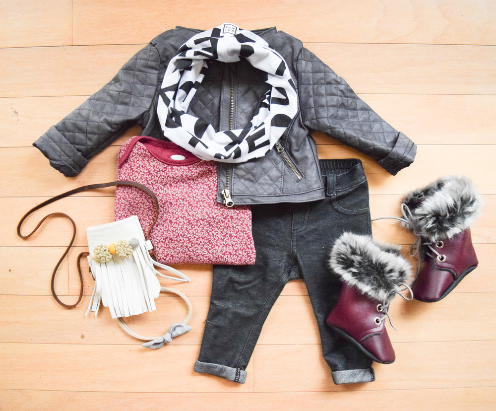 BABY FASHION | A baby leather jacket, baby infinity scarf and baby fur combat boots