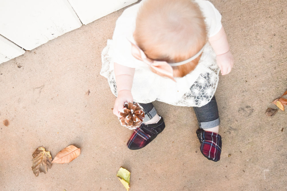 Baby Holiday Outfit - Rose Gold Kids Holiday Headband - Plaid Holiday Baby Shoes - Baby Jeans