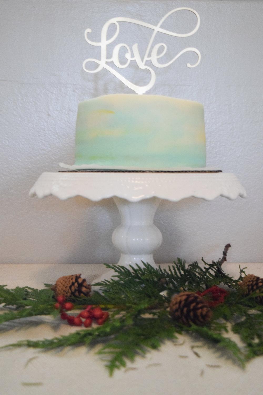 Gold Cake Topper - Seafoam Wedding Cake