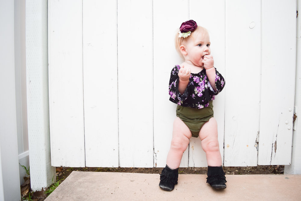 BABY FASHION - purple floral crop top, olive baby bloomers, purple floral baby headband, black baby fringe boots