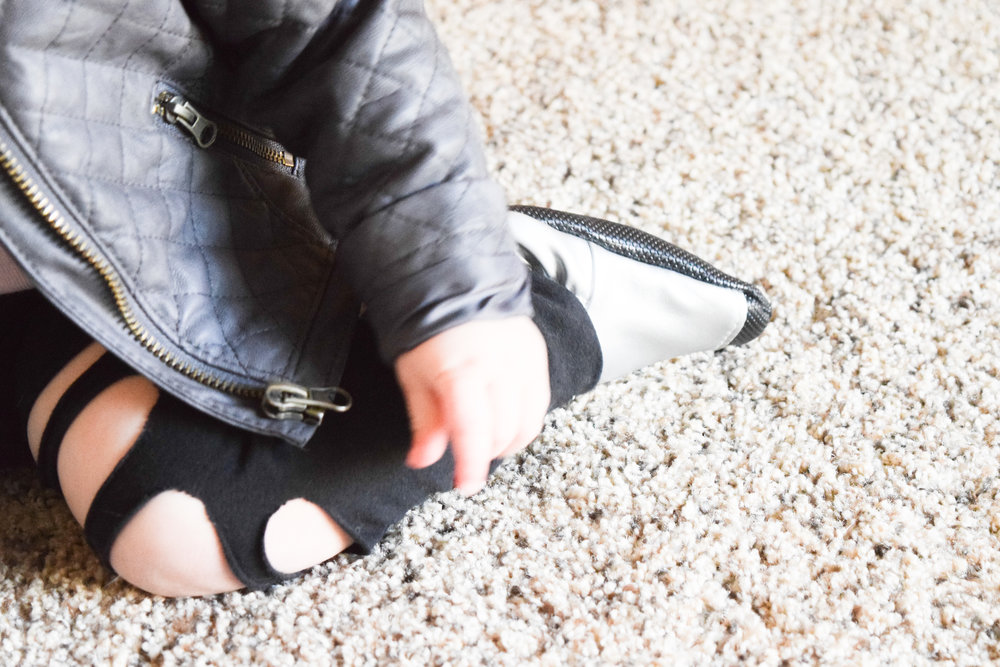 BABY FASHION | silver baby shoes, back torn baby leggings, baby leather jacket