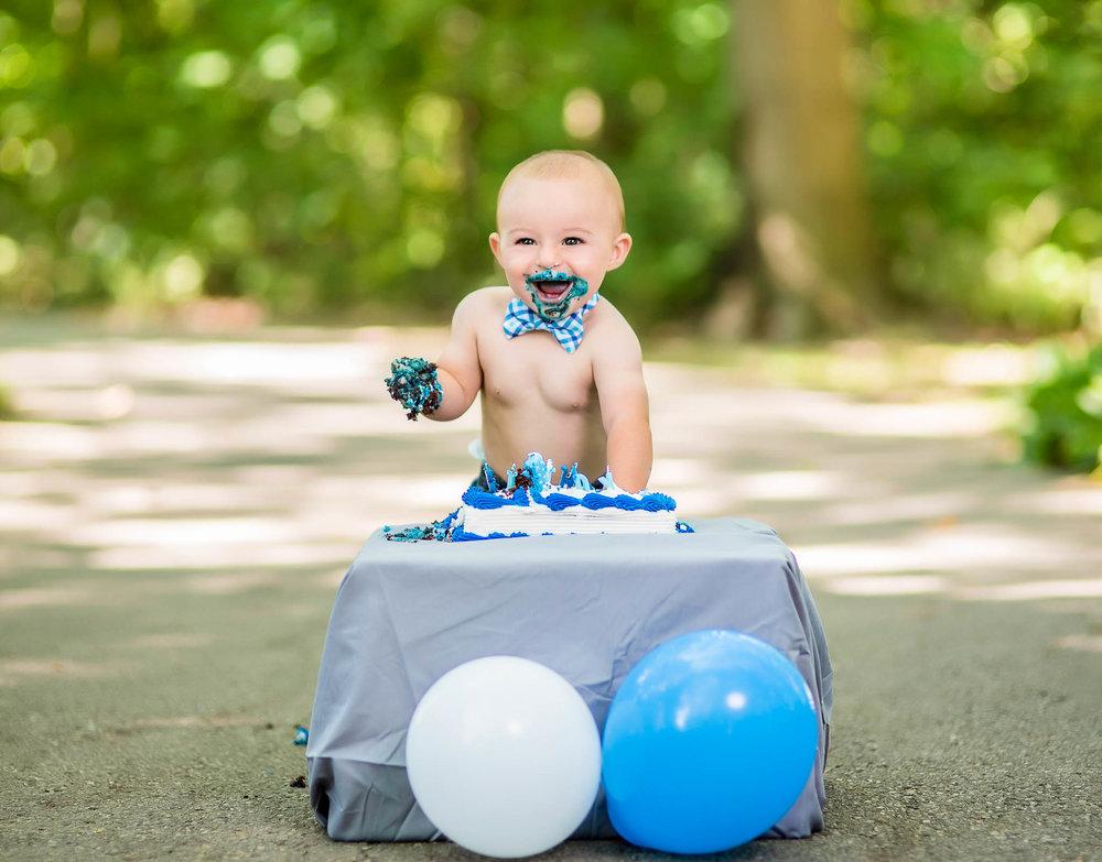 First Birthday Cake Smash Photos - Kolton - Vision & Style Photography
