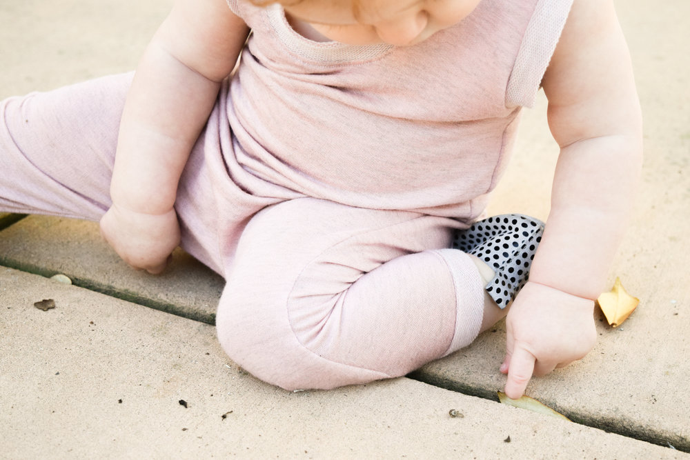 Baby Fashion - Light Pink Baby Romper, Polka Dot Baby Oxfords Piper Finn Footwear, Floral Print Baby Headband
