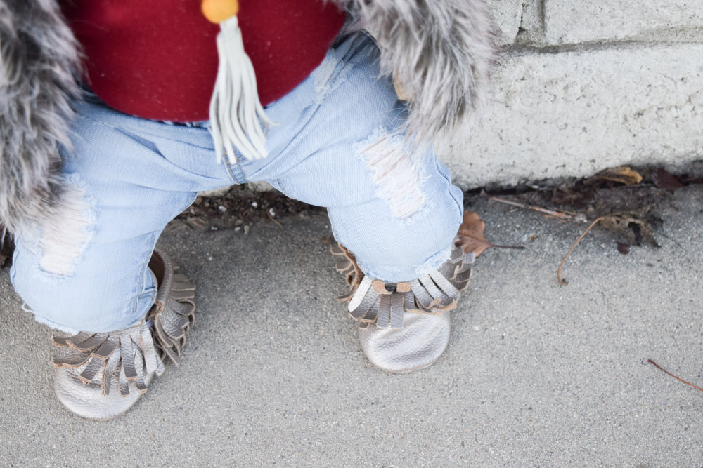 Baby Fashion - Baby Fur Vest + Baby Ripped Jeans