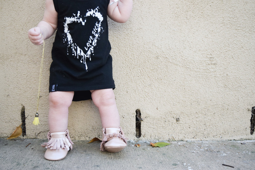 BABY FASHION - high low baby heart dress, baby leather boots, baby slouch beanie