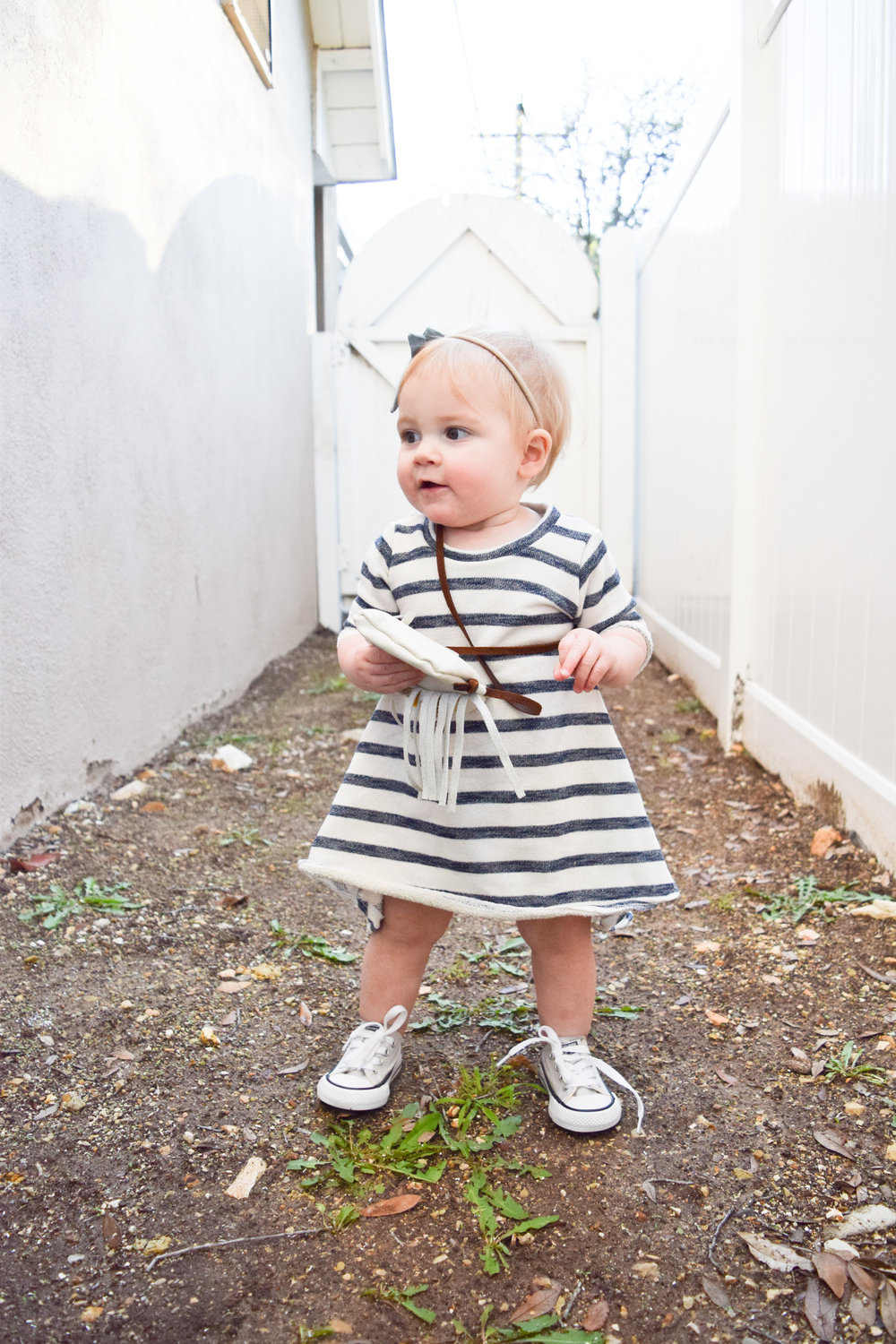 BABY FASHION | Navy + Cream Striped Terry Cloth Baby Dress - Perfectly Paisley Shop on Etsy