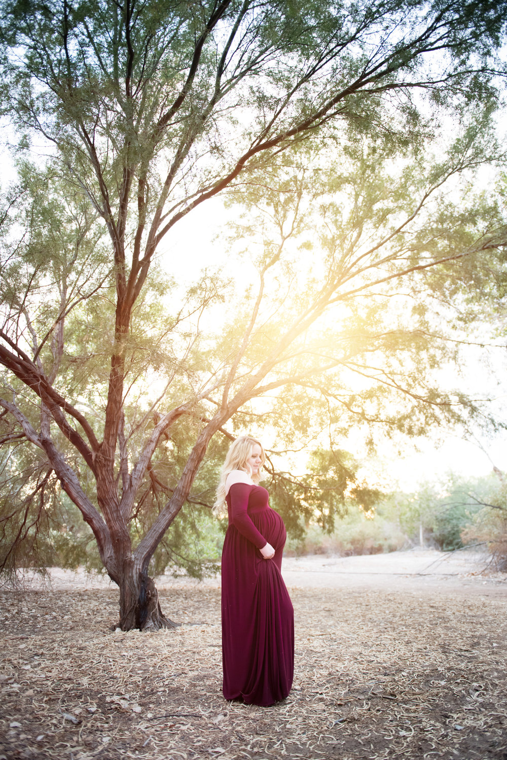 Forest Maternity Photos - Maroon Maternity Photo Dress - Reflecting Grace Photography