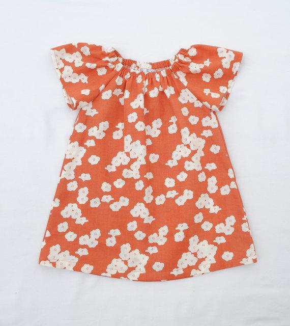 Orange Floral Spring Baby Dress