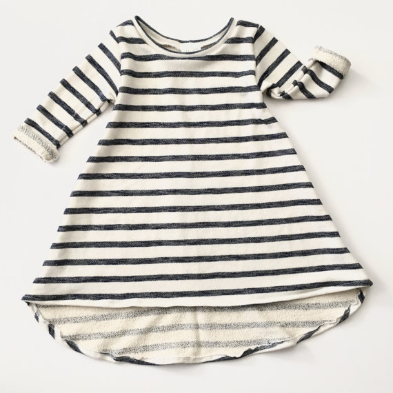 Navy and Cream Tunic Baby Dress