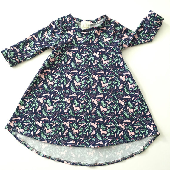 Long Sleeve Unicorn Baby Dress