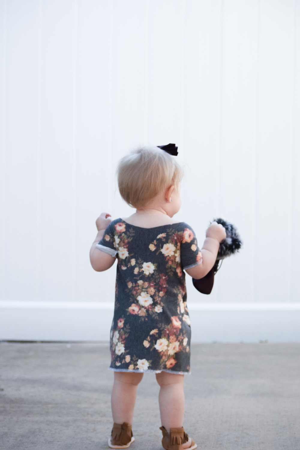 Baby Floral Off the Shoulder Dress - Baby Gladiator Sandals