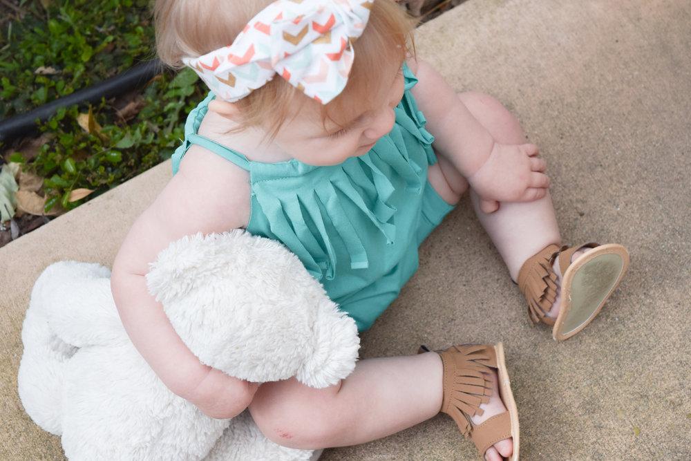 Baby Spring Romper - Spring Teal Spring Baby Fringe Romper - Copper Robin