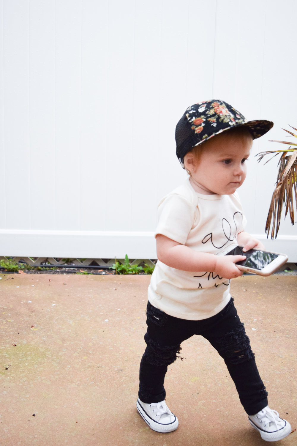 BABY FASHION | Unisex Baby Shirt, Baby Ripped Black Jeans, Baby Converse, Floral Baby Trucker Hat