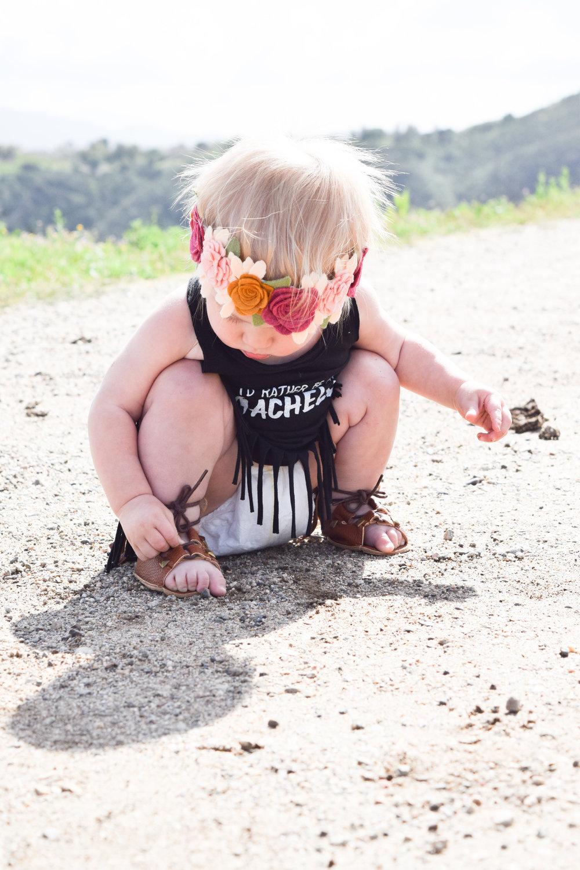 BABY FASHION - Baby Coachella Fringe Dress by Love Sick Threads - Baby Gladiator Sandals - Baby Flower Crown