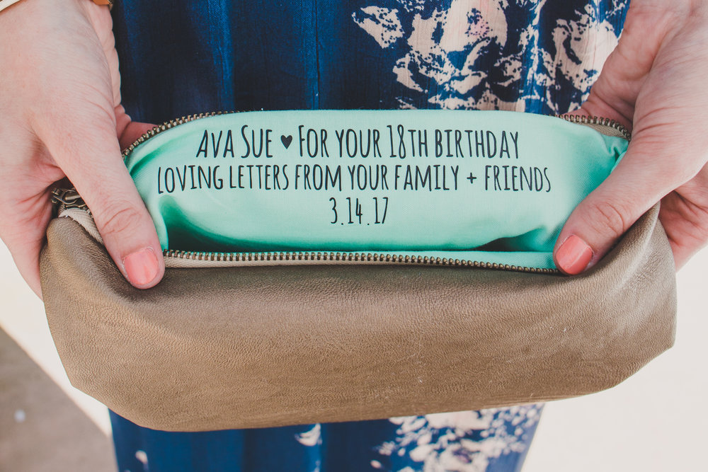 First Birthday Party Ideas - Personalized Note Clutch - A Vintage Chic Pi Day Themed 1st Birthday Party