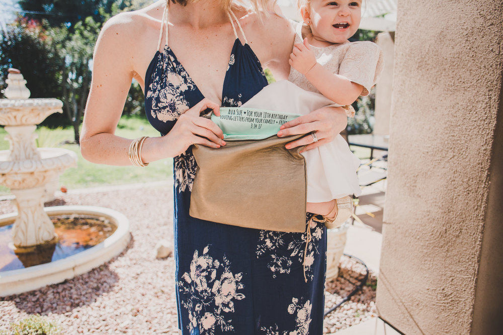 First Birthday Party Ideas - Personalized Message Clutch