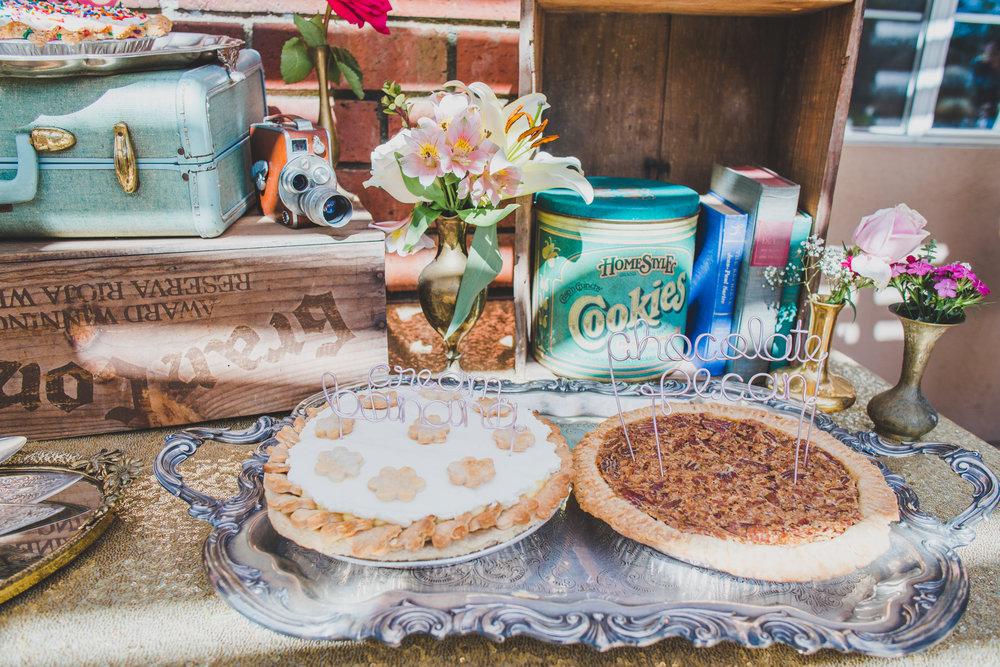 Vintage Pie Bar - First Birthday Party Ideas - A Vintage Chic Pi Day Themed 1st Birthday Party | Ava's First Birthday