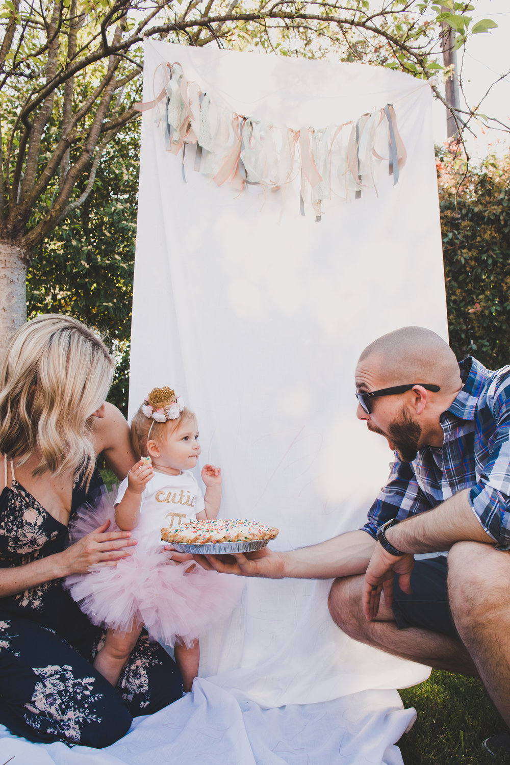 First Birthday Pie Smash - First Birthday Party Ideas - A Vintage Chic Pi Day Themed 1st Birthday Party | Ava's First Birthday