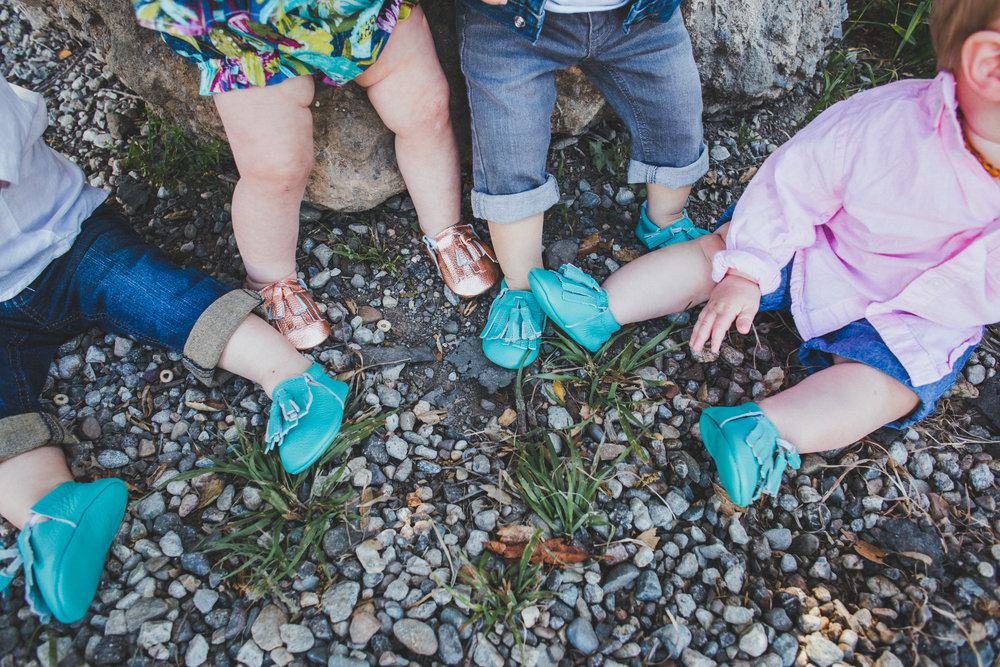 Rose Gold Baby Moccasins - Teal Baby Moccasins - Haute Moccs