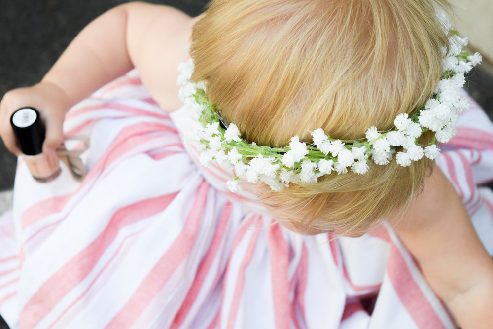 Baby's Breath Baby Flower Crown - BABY FASHION | A Pink Striped Baby Maxi Dress -- Sweet Little Skye