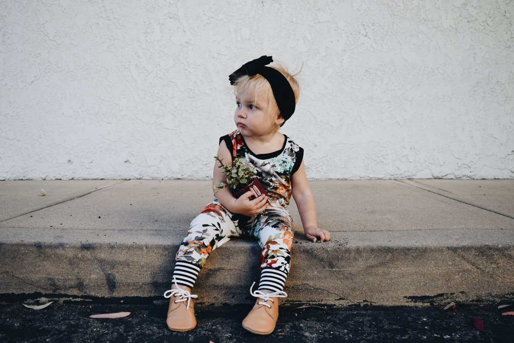 KIDS FASHION | Floral Romper + Oxfords -- Brooklynn & Grey - Piper Finn Footwear