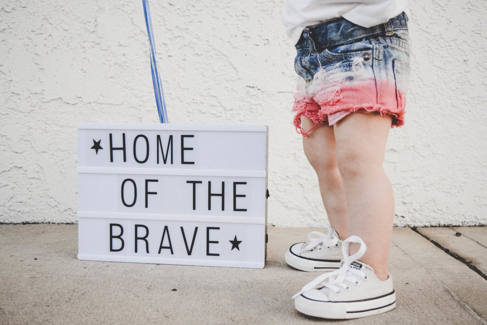 Kids Red White + Blue Jean Shorts - Kids 4th of July Shorts