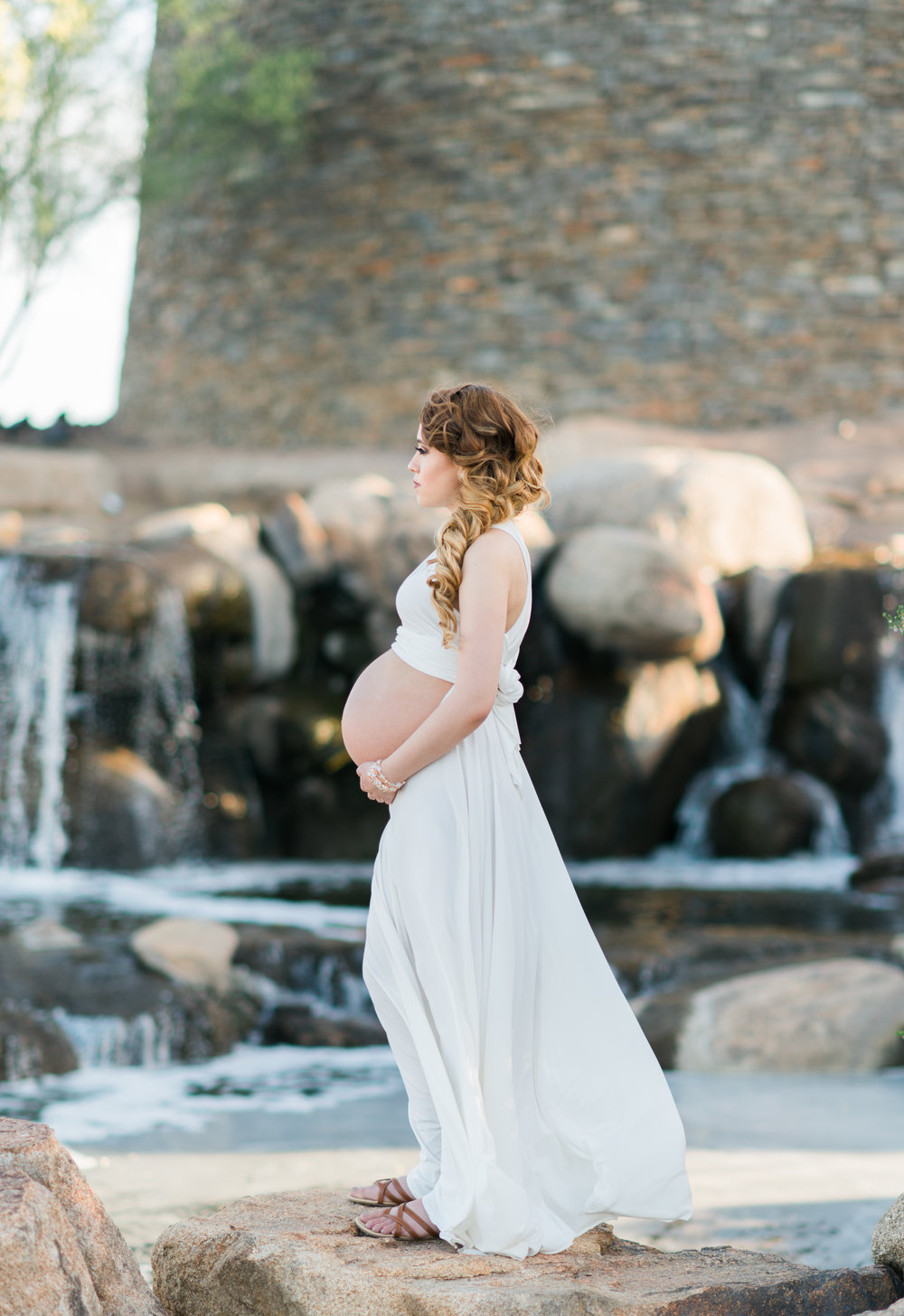 Glamorous Maternity Photos - Red Formal Maternity Dress - White Maternity Photos Dress -- Lisa Soroko Photography