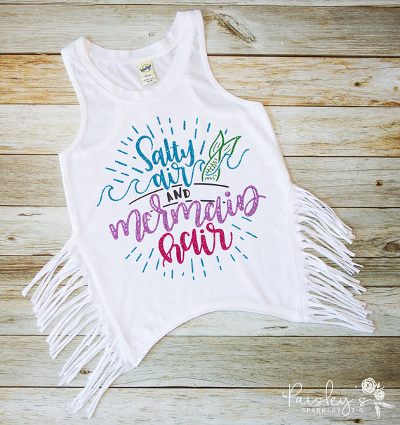 Summer kids Tee - Salty Air and Mermaid Hair Tank - Mermaid Tank