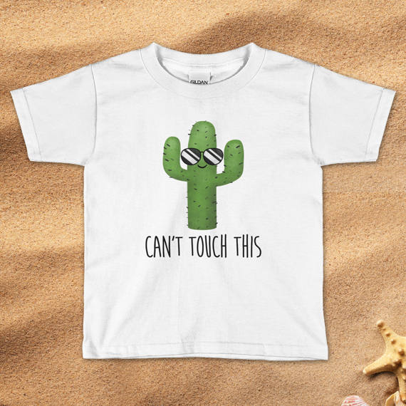 Kids Summer Graphic Tees - Cactus TShirt -  Cant Touch This