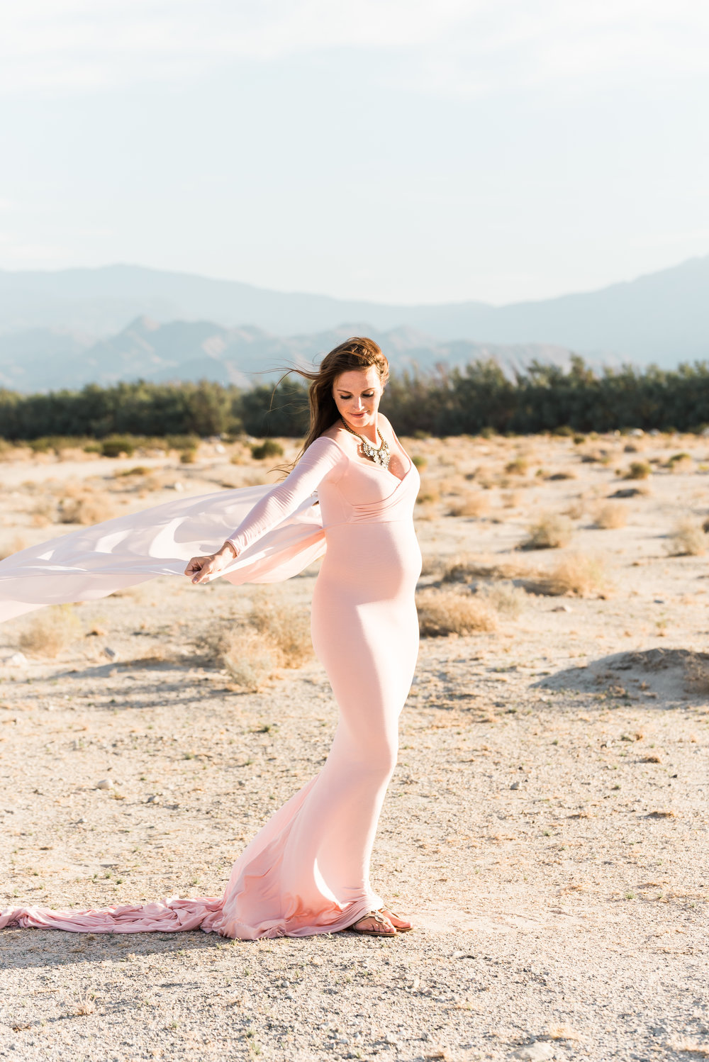 Pastel Coachella Valley Desert Maternity Photos -- Randy + Ashley Studios